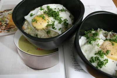Bacon & Leek Risotto with Poached Eggs
