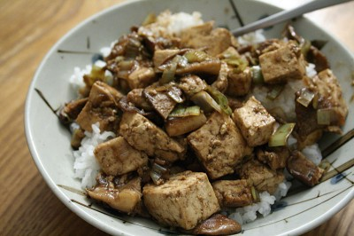Tofu and Shiitake in Spicy Black Bean Sauce