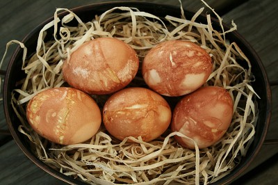 Eggs blown out and dyed with onion skins